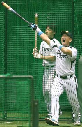 阪神・金本選手の豪快なフリー打撃